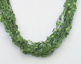 Ladder Yarn Necklace, Ribbon Necklace, Crochet Necklace, Adjustable Length, Lime Green, Trellis Necklace, Womans Necklace, Gift for Her #008