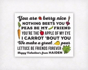 Personalized Printable Kids Valentine Card, Fruits and Veggies Valentines Day Cards, Vegan Vegetarian Fruit and Vegetable Valentines Cards