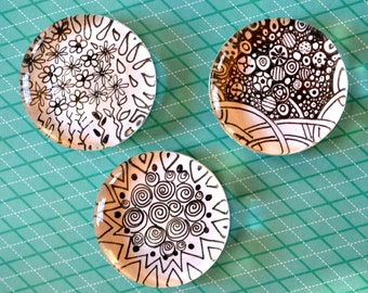 Black and White Doodle Magnets. Set of three.