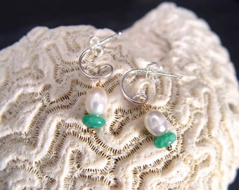 HOOP Earrings With AMAZONITE And FRESHWATER Pearl Dangels Made In Sterling Silver