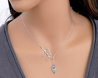 Silver Lariat Owl necklace, Cute Owl necklace, Bird necklace, Lariat Necklace, Silver Owl necklace, Owl charm necklace