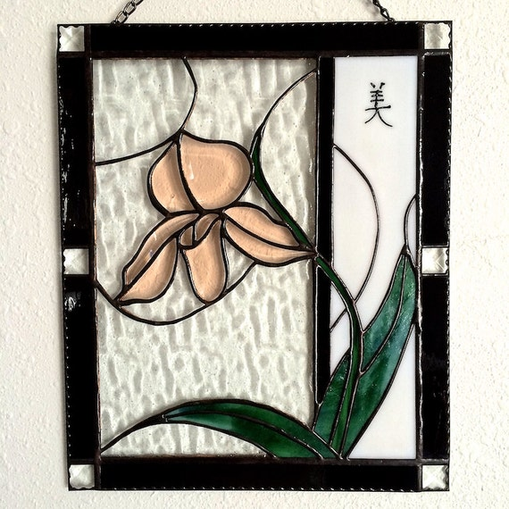 "Orchid Bevel Stained Glass Panel ""Beauty"" Chinese Symbol Deesigns by Harris Made in Hawaii Free Gift Wrap"