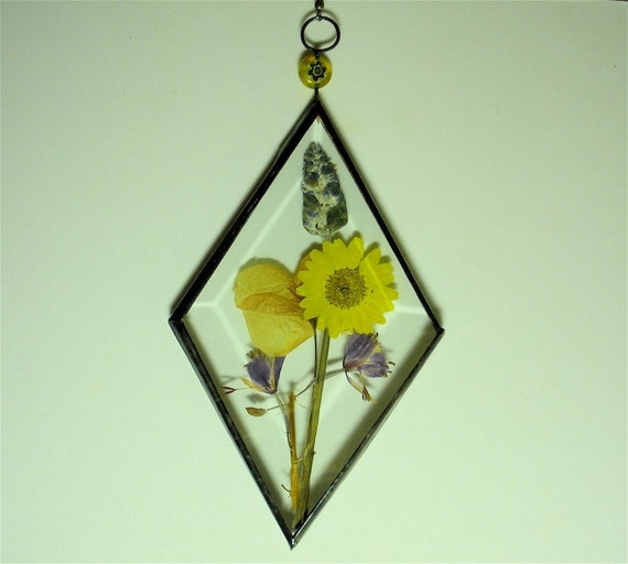 "Stained Glass 3x5"" Diamond Bevel Inspirational Sun Catcher with Pressed Flowers Deesigns By Harris Free Gift Wrap"