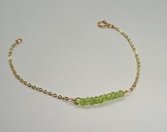 Gold peridot bracelet, Peridot bracelet, Gold gemstone bracelet, Gemstone bracelet, August birthstone bracelet, Gifts