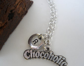Chocolate Lover Necklace/ Chocoholic Pendant/ Chocolate Lover Necklace/ Chocolate Necklace / Chocolate Charm Necklace/Personalized Necklace