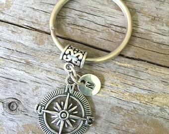 Compass Keychain/ Compass Key Chain/ Compass Initial Key Ring/ Travel Keychain/ Compass Key Ring/ Friends Keychain/ Initial Keychain