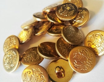 """Vintage Brass Buttons Small Gold Metal Buttons Coat of Arms 5/8"""" Shank Matching Set of 20"""