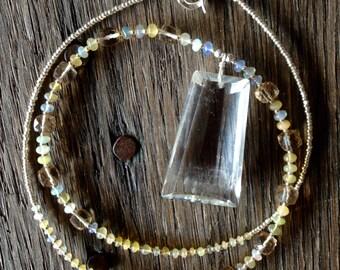Crystal Quartz and Ethiopian Opal Necklace
