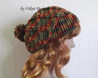 Pom Pom Slouchy Beanie Hat, Crochet Women Slouchy Hat, Autumn Winter Hat, Head Warmer by Vikni Designs
