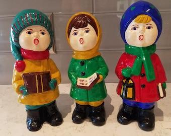 Vintage Christmas Carolers Figurine, Little boy and girl Christmas decor, choir boys