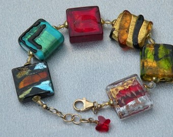 Murano Glass Venetian Square Bead Bracelet, Assorted Handmade Lampworked Italian Beads with 24 Karat Gold Foil and Silver Foil