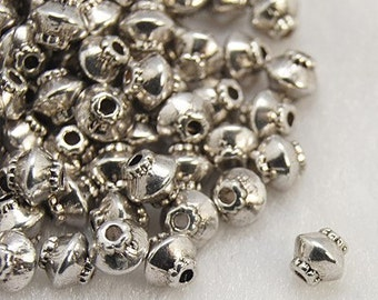 Tibetan Style Bead Spacers, Qty 50 Bicone, Antique Silver, about 5mm in diameter, 4.5mm thick, hole: 1mm  #133