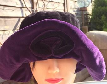 Black & purple velvet floppy hat