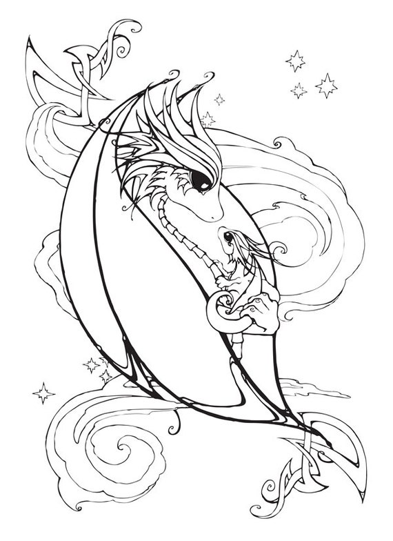 Mother and Baby Dragon Coloring Page