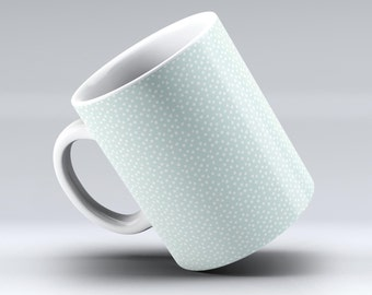 The Mint and White Micro Polka Dots-ink Fuzed Ceramic Coffee Mug or Tea Cup