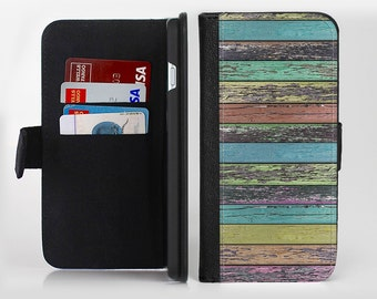 The Chipped Pastel Paint on Wood lnk-Fuzed Leather Folding Wallet Case For the Apple iPhone and Samsung Galaxy Devices