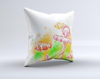 The Color-Red Anchor Under The Sea ink-Fuzed Decorative Throw Pillow
