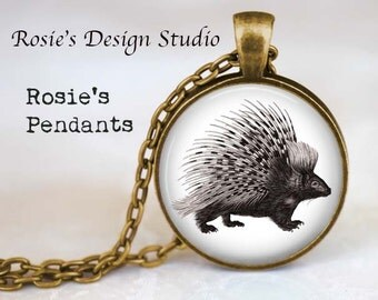PORCUPINE Pendant Necklace - Woodland Jewelry - Porcupine Jewelry - Porcupine Quill - Nature Lover Gift - Vintage Porcupine - Prickly