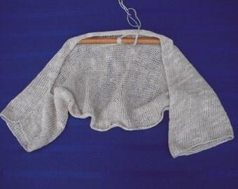 Linen shrug, bolero handknit cotton shrug, summer cotton sweater , linen top, linen bolero, summer top