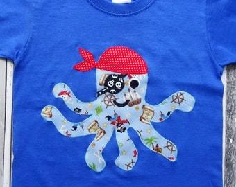 Personalised pirate octopus T shirt, kids custom pirate octopus shirt, boys pirate t shirt, girls pirate t shirt, kids octopus t shirt