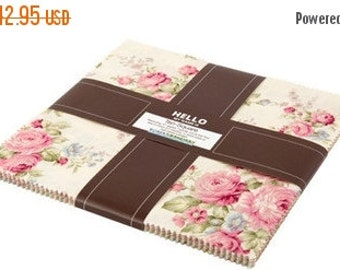 """FANTASTIC SALE - Emma 2~Cotton Fabric, Floral, Layer Cake 10"""" squares by Robert Kaufman, Fast Shipping, LC128"""
