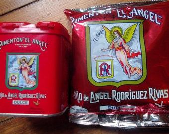 2x pimenton el angel,SMOKED SWEET SPANISH paprika, 1 tin and 1 refill Caçeres, Extremadura, 6 oz, best quality