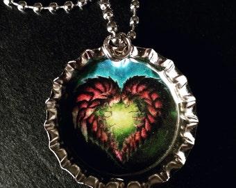 Zerg heart bottle cap necklace
