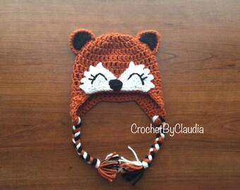 Little Fox Crochet Beanie PhotoProp/ Made to Order/ Fox Beanie