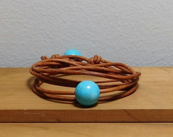 Leather and turquoise Wrap Bracelet, Turqouise leather bracelet, Women's leather bracelet, Women's leather jewelry, Item O195