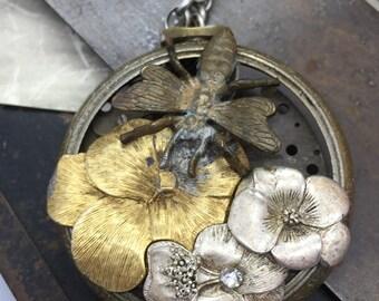 Steampunk necklace-  Bee pocket watch artisan handmade jewelry