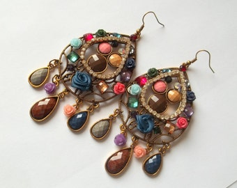 Handmade Indian style earrings with rose, cabochon and crystals