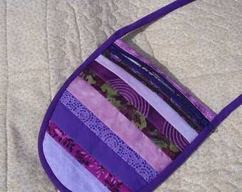 Fully lined Zippered Purple Bag