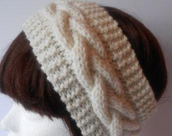 Cable knit Headband. Cable earwarmer. Hand knit Head band. Fashion Headband. Women's headwrap. Cream headband.