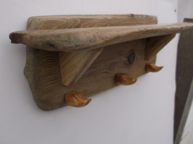 Very Impressive portraiture of Driftwood Coat Rack and Shelf Pet leash hooks  by Driftinn on Etsy