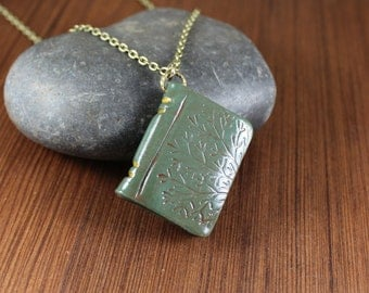 Book Pendant necklace ~ Green