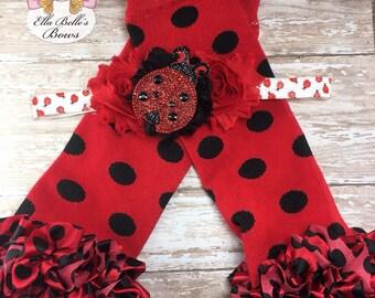 Ladybug Headband and Legwarmer Set~ ladybug headband, ladybug leg warmers, red and black legwarmers