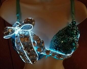 Led Custom Rave Bra - MADE TO ORDER Tiffany's, Tiffany, Teal, Robins Egg Blue