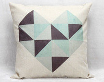 Geo Heart Decorative Micro Fiber printed pillow cover