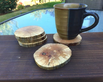 4 Oregon Coast Driftwood round coasters - natural beach driftwood - VERY LIMITED