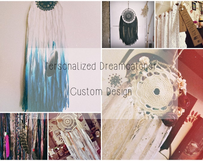 Custom Design Dreamcatcher - Bohemian Bedroom Decor - Gypsy Dream Catcher - Boho Wall Hanging - Hippie Boho Wall Decor - Wedding Gift
