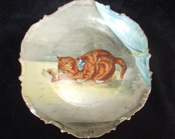 Vintage Cat with Mouse Trap Limoges Plate , Tiger Kitten, Red Tabby or Marmalade Orange Cat Painted Plate, Signed Kitty Plate , Cat Lover