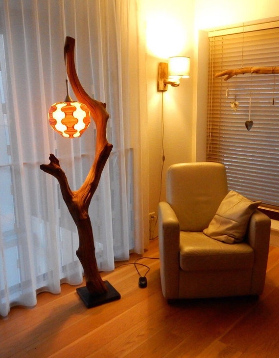 Floor Lamp Weathered Old Oak Tree On Black Natural Stone