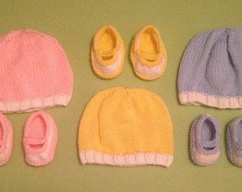 Hand-Knitted Two-Tone Baby Hat And Bootie Set