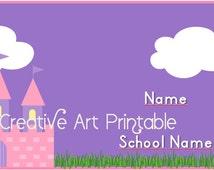 Back to school name labels stickers Princess Castle / Etiquetas escolares para regreso a clases Castillo de Princesas