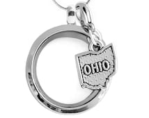 Ohio Living Memory Locket Set, Map of Ohio Floating Charm Necklace Ohio Pendant Ohio Lobster Clasp Origami Inspired w/ Sterling Plated Chain