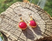 Natural Ruby Gold Drop Earrings