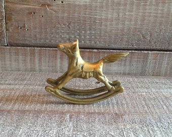 Small Vintage Brass Rocking Horse