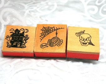3 Small Halloween Rubber Stamps, Used, Wood and Foam mounted, Boo Skeleton Stamp, Haunted House Stamp, Spider and Spider Web Stamp