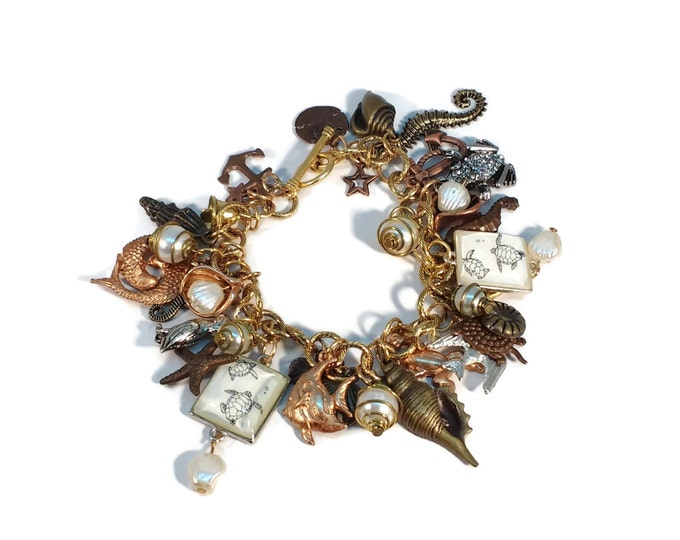 Ocean Beach Themed Charm Bracelet on Gold Plated Chain w/ Brass, Copper, Gold, Pearl & Silver Charms OOAK One of a kind