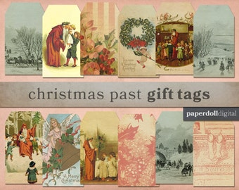 """Victorian Christmas Vintage Style Printable Gift Tags - Instant Download - 12 Tags - 2""""x3.5"""""""